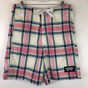 Abercrombie & Fitch Plaid Mesh Lined Board Shorts
